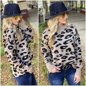 Camel Leopard Print Sweater